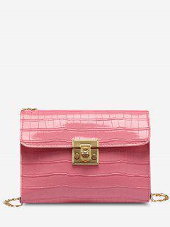 Embossed Twist-Lock Chain Crossbody Bag - Pink