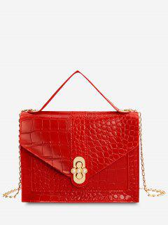 Faux Pearl Chain Crossbody Bag - Red