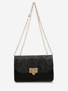 Glitter Chain Rectangle Crossbody Bag - Black