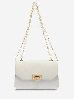 Glitter Chain Rectangle Crossbody Bag - White