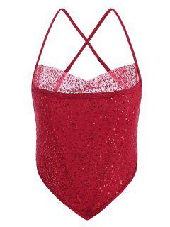 Sequined Mesh Cross Cami Napkin Top - Red L