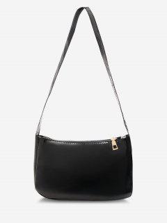 Solid Faux Patent Leather Shoulder Bag - Black