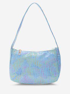 Colorful Metallic Snake Print Casual Shoulder Bag - Powder Blue