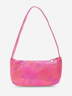 Colorful Metallic Printed Casual Shoulder Bag - Deep Pink