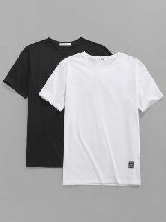 ZAFUL 2 Pcs Applique Detail Basic T-shirts - Multi M