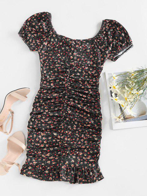 women's ZAFUL Ditsy Print Puff Sleeve Ruched Mini Mermaid Dress - BLACK M Mobile