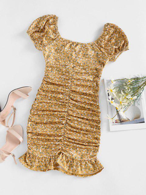 ZAFUL Ditsy Print Puff Sleeve Ruched Mini Mermaid Dress - الأصفر M Mobile