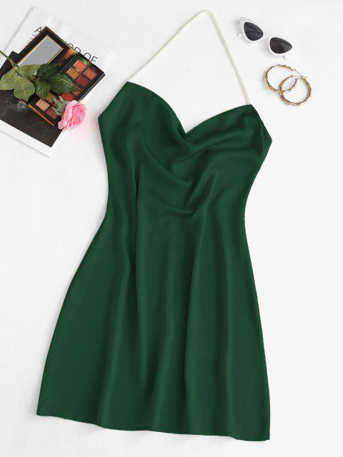 sale Faux Pearl Halter Mini Party Dress - DEEP GREEN S Mobile