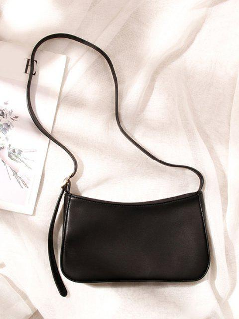 ladies Minimalistic Buckle Strap Solid Shoulder Bag - BLACK  Mobile