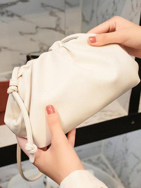 Sac à Bandoulière Noué Plissé Détaillé en Couleur Unie - Blanc  Mobile