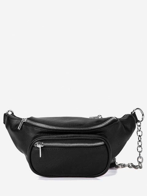 shops Zippers Half Chain Chest Bag - BLACK  Mobile