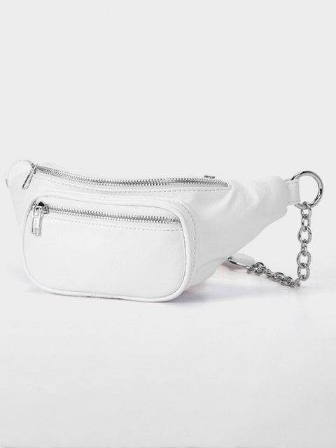 Sac Poitrine Demi-Zip avec Chaîne - Blanc  Mobile
