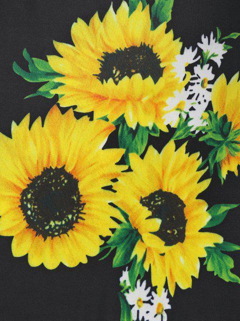 hot ZAFUL Sunflower Print Open Back Bodycon Dress - BLACK L Mobile