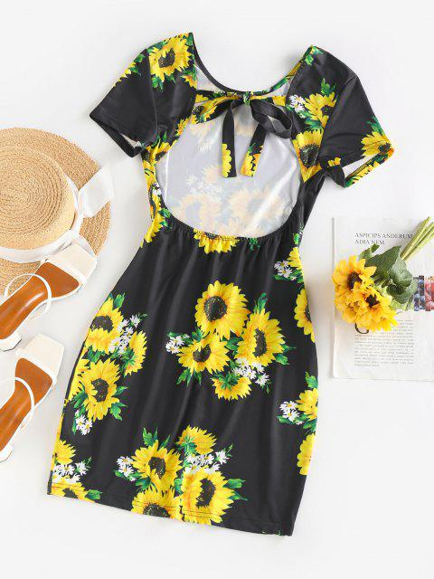 outfits ZAFUL Sunflower Print Open Back Bodycon Dress - BLACK S Mobile