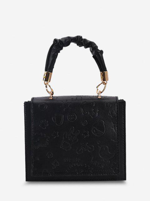 Embossed Ruched Strap Flap Shoulder Bag - أسود  Mobile