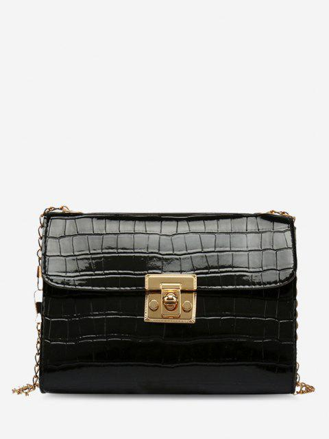 shops Embossed Twist-Lock Chain Crossbody Bag - BLACK  Mobile
