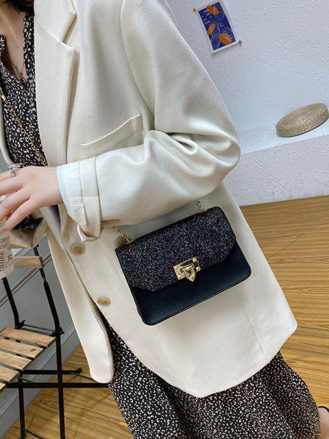 lady Glitter Chain Rectangle Crossbody Bag - BLACK  Mobile
