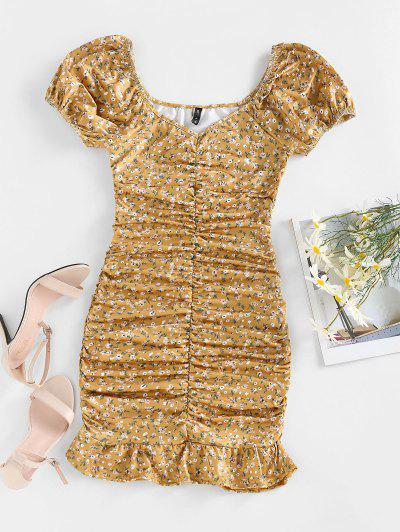 ZAFUL Ditsy Print Puff Sleeve Ruched Mini Mermaid Dress - Yellow M