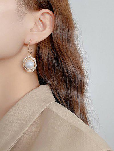 Faux Pearl Round Diamante Earrings - Golden
