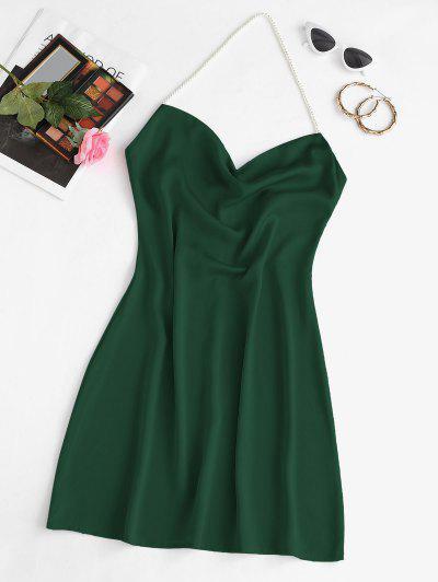 Faux Pearl Halter Mini Party Dress - Deep Green S
