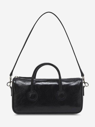 Solid Dual Handle Mini Shoulder Bag - Black