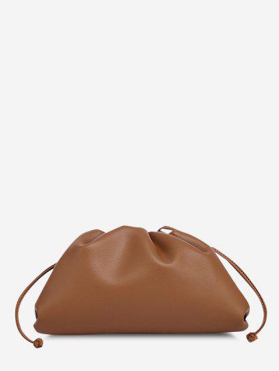 Solid Ruched Knot Detail Shoulder Bag - Caramel