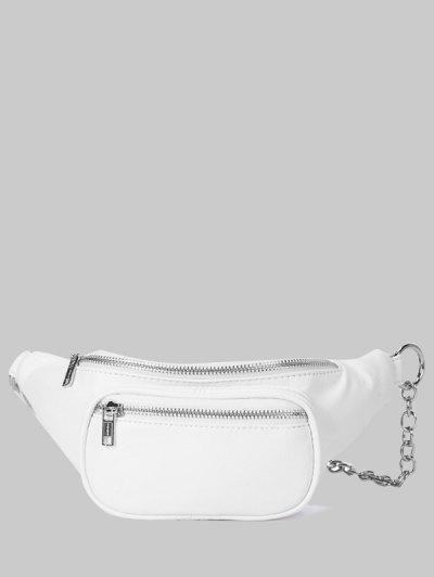 지퍼 반 체인 가슴 가방 - 하얀
