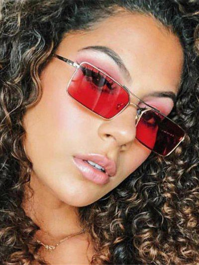 Rectangle Crossbar Metal Sunglasses - Cherry Red