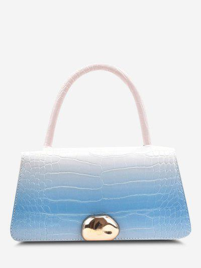 Ombre Embossed Dual Handle Chain Crossbody Bag - Sea Blue