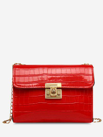 Embossed Twist-Lock Chain Crossbody Bag - Red