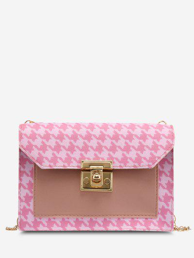 Houndstooth Print Spliced Twist-Lock Crossbody Bag - Pink