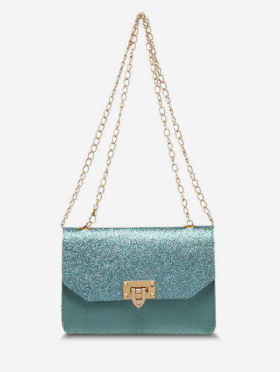 Glitter Chain Rectangle Crossbody Bag - Light Blue