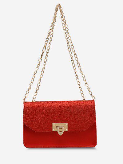 Glitter Chain Rectangle Crossbody Bag - Red