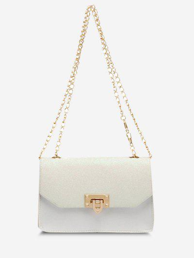 Glitter Chain Rectangle Crossbody Bag - White