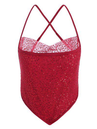 Sequined Mesh Cross Cami Napkin Top - Red S