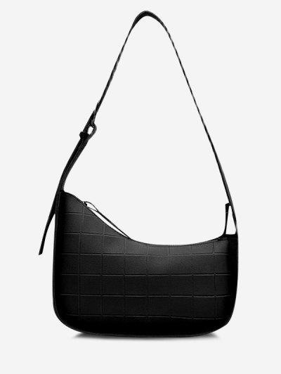 Minimalistic Embossed Wide Buckle Strap Shoulder Bag - Black