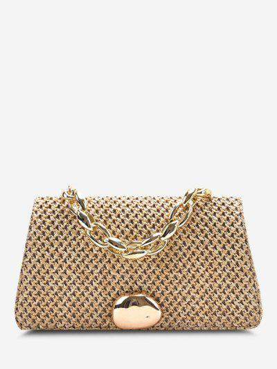Woven Dual Handle Chain Crossbody Bag - Light Khaki