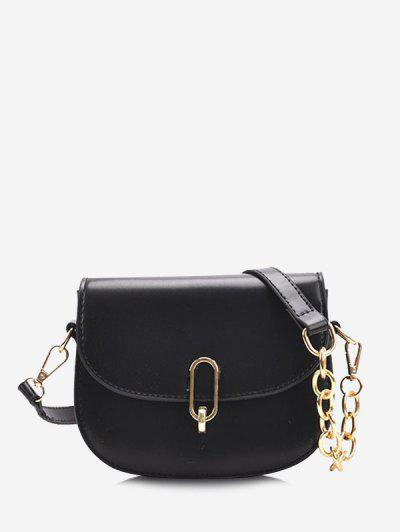 Half Chain Flap Crossbody Saddle Bag - Black