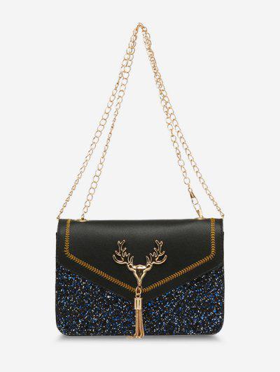 Deer Head Sequins Tassels Shoulder Bag - Black