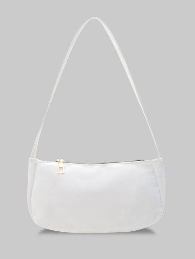 Solid Rectangle Mini Casual Shoulder Bag - White