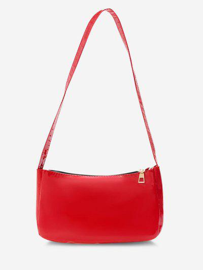 Solid Faux Patent Leather Shoulder Bag - Red