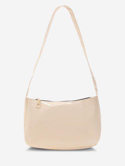 Solid Faux Patent Leather Shoulder Bag - Light Khaki