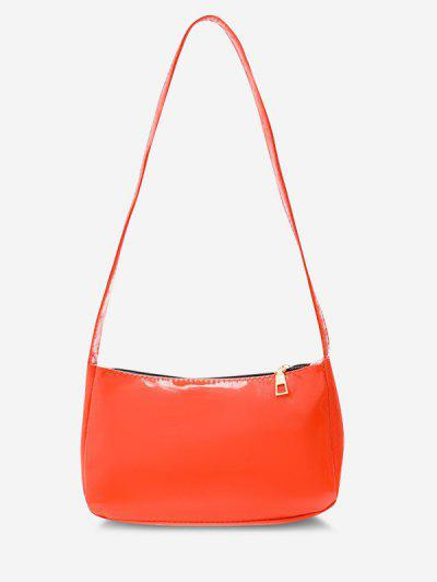 Solid Faux Patent Leather Shoulder Bag - Bean Red