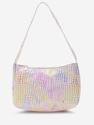 Colorful Metallic Snake Print Casual Shoulder Bag - White