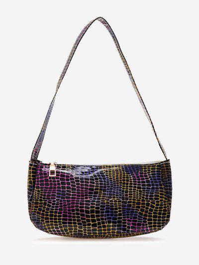 Colorful Metallic Printed Casual Shoulder Bag - Black