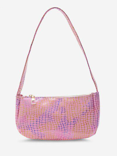Colorful Metallic Printed Casual Shoulder Bag - Pink