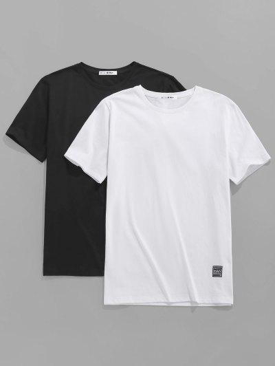 ZAFUL 2 Pcs Applique Detail Basic T-shirts - Multi S