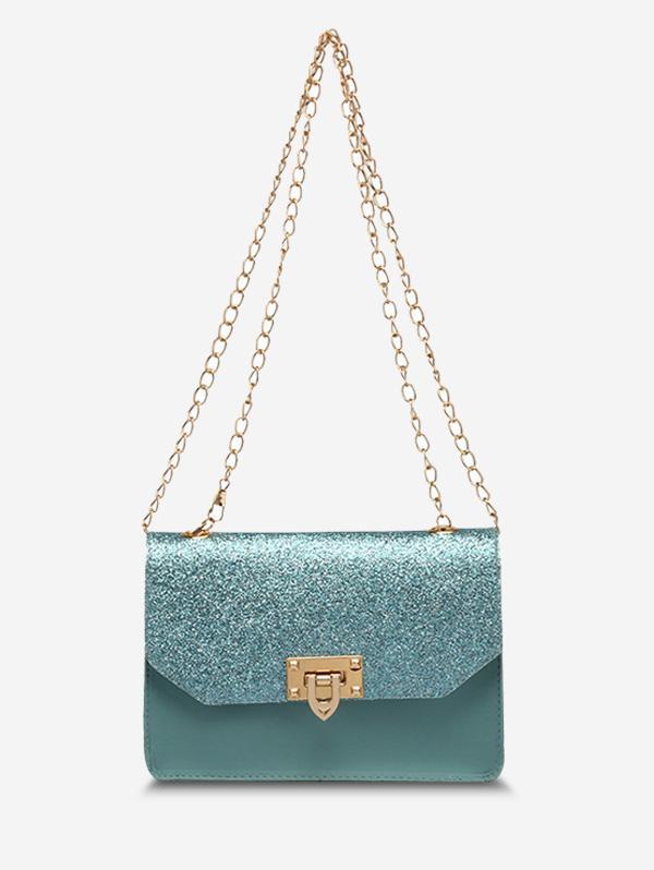 Glitter Chain Rectangle Crossbody Bag