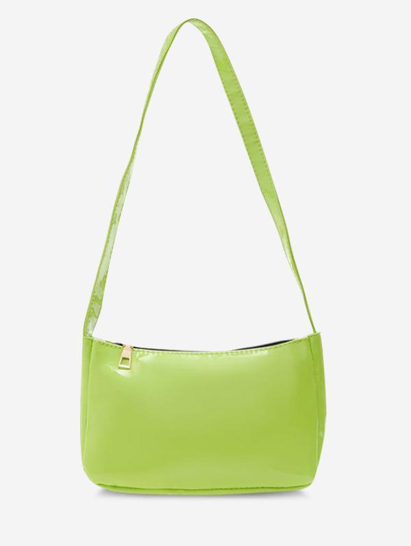 Solid Faux Patent Leather Shoulder Bag