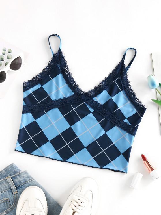 hot ZAFUL Argyle Lace Insert Crop Camisole - BLUE M